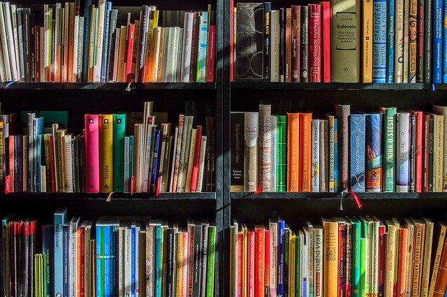 grande bibliothèque avec beaucoup de livres